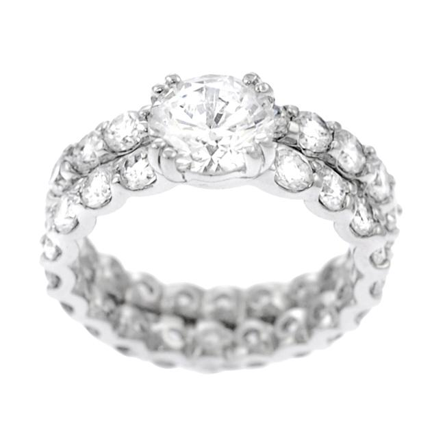 Journee Collection Sterling Silver Round-cut Eternity Bridal Set Ring