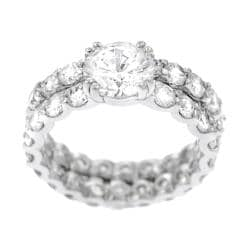 Tressa Sterling Silver Round-cut Eternity Bridal Set Ring