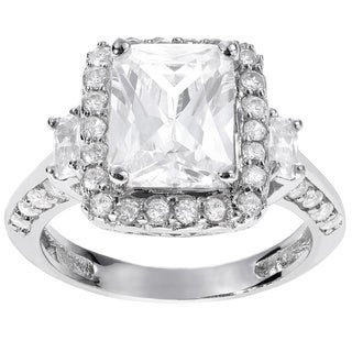 Journee Collection Sterling Silver Rectangle CZ Bridal Engagement Ring