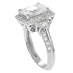 Tressa Collection Sterling Silver Rectangle CZ Bridal Engagement Ring