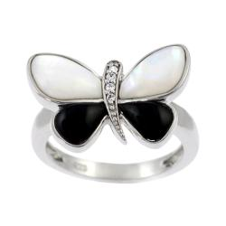 Tressa Sterling Silver Black and White Butterfly Ring