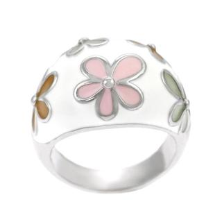 Journee Collection Sterling Silver White Colored Flowers Domed Ring