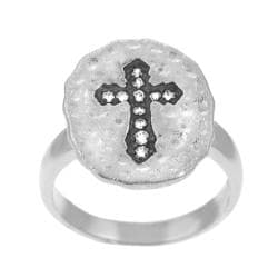 Tressa Sterling Silver CZ Cross on Matte Finish Ring