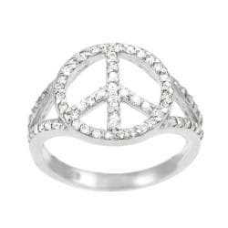 Tressa Sterling Silver CZ Pave Peace Sign Ring
