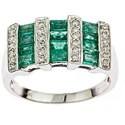 D'Yach 14k White Gold Channel-set Emerald and 1/5ct TDW Diamond Ring (I-J, I1-I2)
