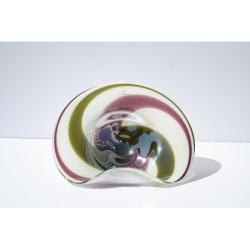 Hand-blown Glass Decorative Green/ Purple Dish