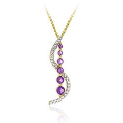 Glitzy Rocks 18k Gold/ Silver Amethyst/ Diamond Journey Necklace