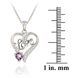 Glitzy Rocks Sterling Silver Amethyst/ Diamond Heart 'Love' Necklace