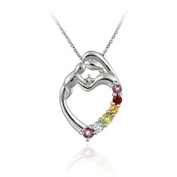 Glitzy Rocks 18k Multi-gemstone/ Diamond Accent Heart Necklace