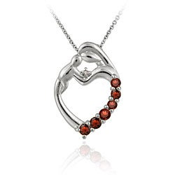 Glitzy Rocks Sterling Silver Garnet and TDW 2/5ct Diamond Accent Heart Necklace (I-J,I-2)
