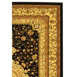 Lyndhurst Collection Mashad Black/ Ivory Rug (9' x 12')