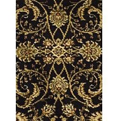 Lyndhurst Collection Black/Ivory Runner Rug (2'3