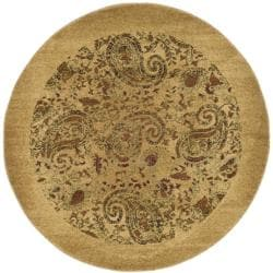 Lyndhurst Collection Paisley Beige/ Multi Rug (5' 3' Round)