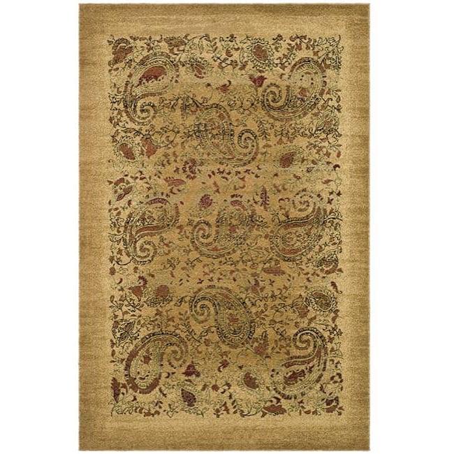 Lyndhurst Collection Paisley Beige/ Multi Rug (6 X 9)