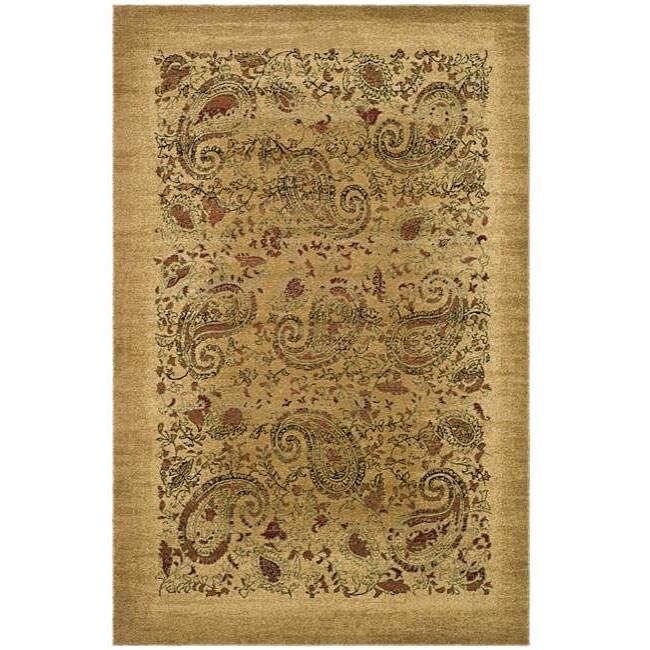 Lyndhurst Collection Paisley Beige/ Multi Rug (9 X 12)