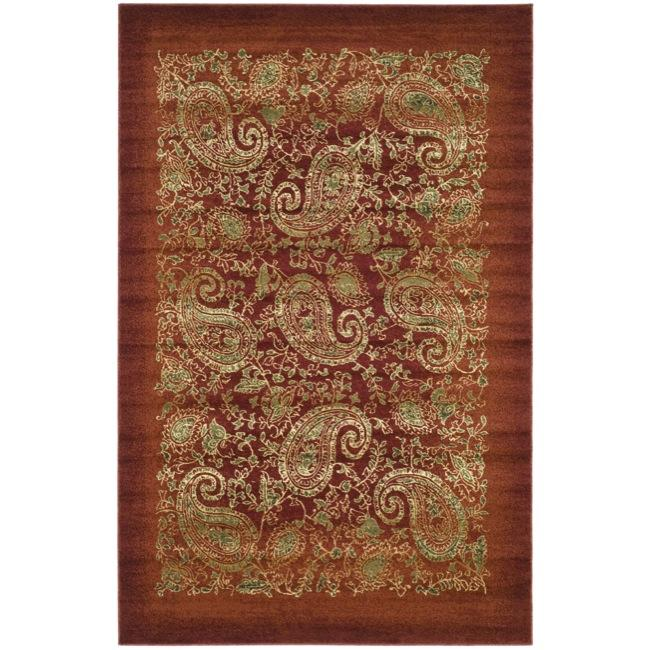 Lyndhurst Collection Paisley Red/ Multi Rug (4 X 6)