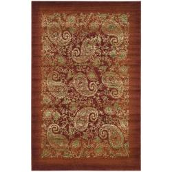 Lyndhurst Collection Paisley Red/ Multi Rug (4' x 6')