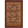 Lyndhurst Collection Paisley Red/ Multi Rug (5' 3 x 7' 6)