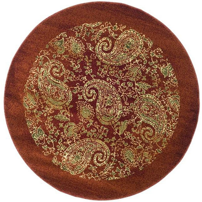 Lyndhurst Collection Paisley Red/ Multi Rug (5 3 Round)