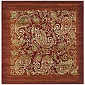 Lyndhurst Collection Paisley Red/ Multi Rug (6' Square)