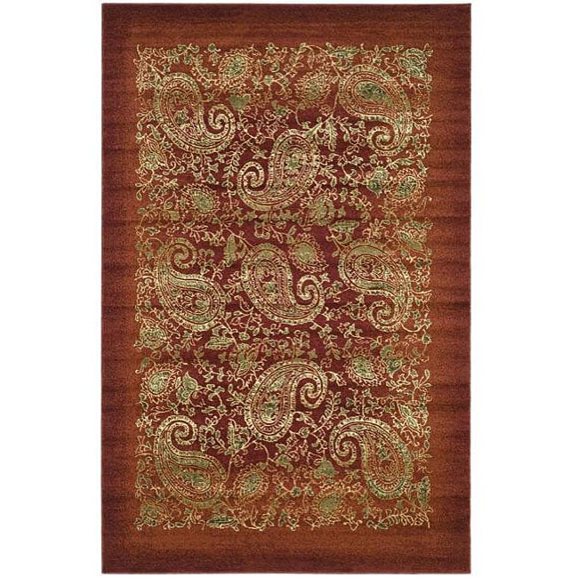 Lyndhurst Collection Paisley Red/ Multi Rug (8 X 11)