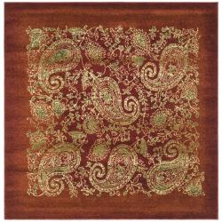 Lyndhurst Collection Paisley Red/ Multi Rug (8' Square)