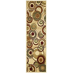 Lyndhurst Collection Circ Ivory/ Multi Runner (2'3 x 8')