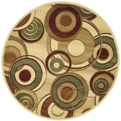 Lyndhurst Collection Circ Ivory/ Multi Rug (5' 3' Round)