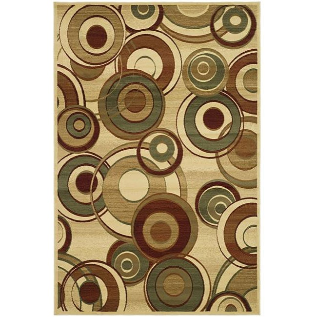 Lyndhurst Collection Circ Ivory/ Multi Rug (6 X 9)