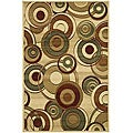 Lyndhurst Collection Circ Ivory/ Multi Rug (6' x 9')