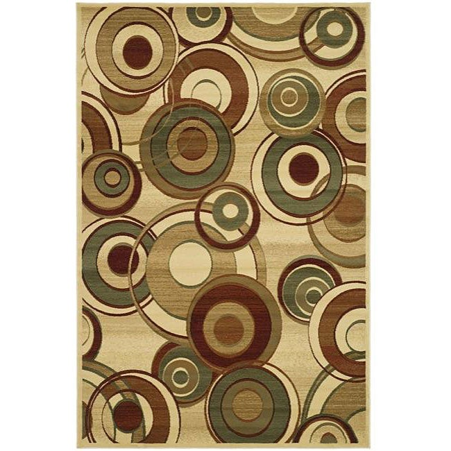 Lyndhurst Collection Circ Ivory/ Multi Rug (8 X 11)