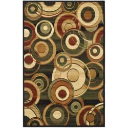 Lyndhurst Collection Circ Black/ Green Rug (5' 3 x 7' 6)