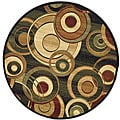 Lyndhurst Collection Circ Black/ Green Rug (5' 3' Round)