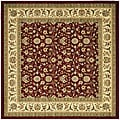 Lyndhurst Collection Floral Burgundy/ Ivory Rug (6' Square)