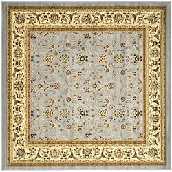 Lyndhurst Floral Motif Greyish Blue/ Ivory Rug (8' Square)