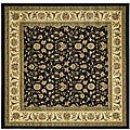 Lyndhurst Collection Traditional Oriental Black/ Ivory Rug (6' Square)