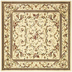 Lyndhurst Collection Traditional Ivory/ Ivory Rug (8' Square)