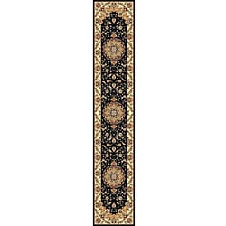 Lyndhurst Collection Traditional Black/ Ivory Runner (2' 3 x 22')