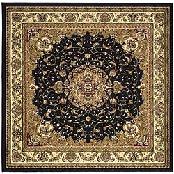 Lyndhurst Collection Traditional Black/ Ivory Rug (6' Square)