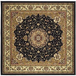 Lyndhurst Collection Traditional Black/ Ivory Rug (8' Square)