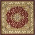 Lyndhurst Collection Traditional Red/Ivory Rug (6' Square)