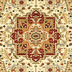 Lyndhurst Collection Traditional Ivory/Red Area Rug (4' x 6')