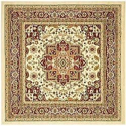 Lyndhurst Collection Traditional Ivory/Red Rug (6' Square)