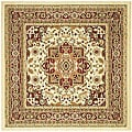 Lyndhurst Collection Ivory/Red Oriental-Style Rug (8' Square)