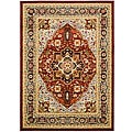 Lyndhurst Collection Traditional Red/Black Area Rug (4' x 6')