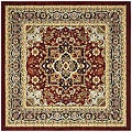 Lyndhurst Collection Red/Black Area Rug (6' Square)