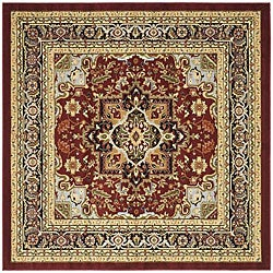 Traditional Lyndhurst Collection Red/Black Rug (8' Square)