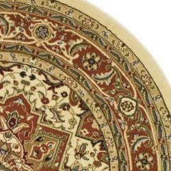 Lyndhurst Collection Oriental Ivory/Rust Rug (8' Round)