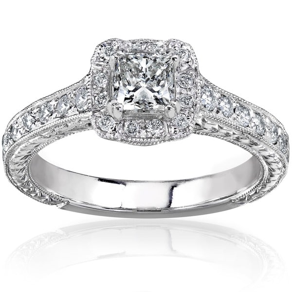 Annello 14k Gold 3/4ct TDW Princess-cut Diamond Halo Engagement Ring (H-I, I1-I2)