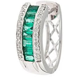 D'Yach 14k White Gold Emerald and 1/3ct TDW Diamond Earrings (I-J, I1-I2)